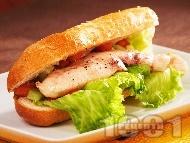 Рецепта Диетичен сандвич с франзела, пилешко бонфиле на фурна (бон филе) и зеленчуци